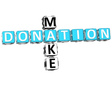 3D Make Donation Crossword on white background photo