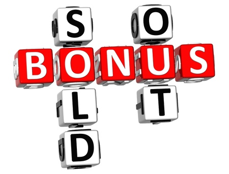 3D Bonus Sold Out Crossword on white background photo
