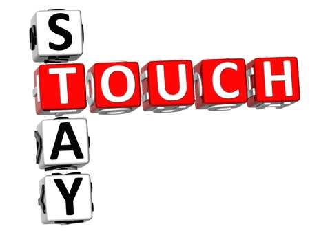 stay: 3D Stay Touch Crossword on white background Stock Photo