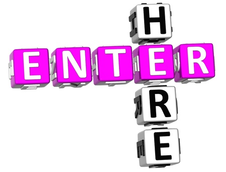 3D Enter Here Crossword on white background photo
