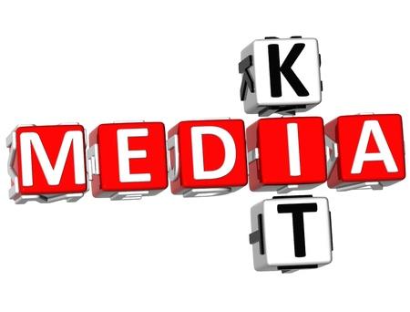 buzzwords: 3D Media Kit Crossword on white background