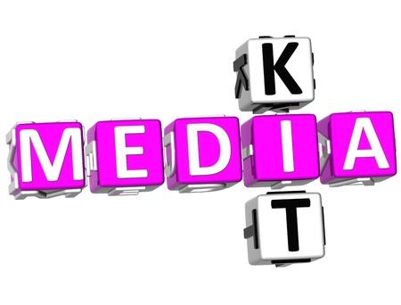 3D Media Kit Crossword on white background photo