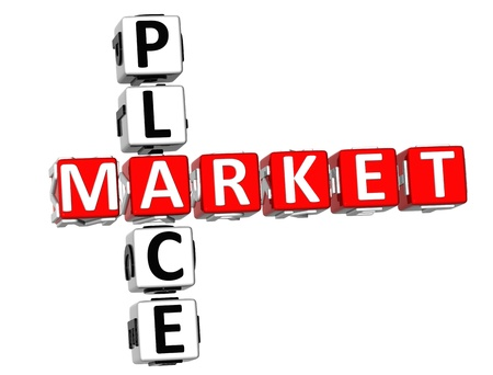 market place: 3D Market Place Crossword on white background Stock Photo
