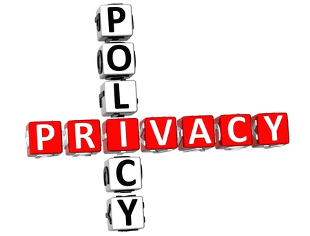 3D Privacy Policy Crossword on white background Stock Photo - 9164641