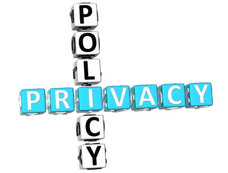 3D Privacy Policy Crossword on white background Stock Photo - 9164632