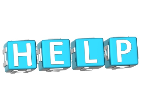 3D Help Cube text on white background Stock Photo - 9164600