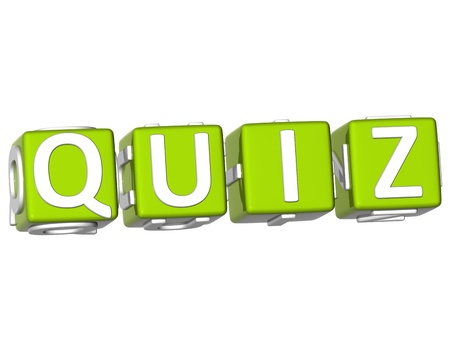 3D Quiz Cube text on white background photo