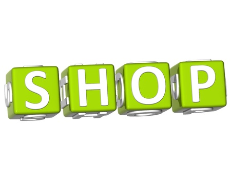 webmater: 3D Shop Cube text on white background