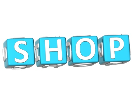 3D Shop Cube text on white background Stock Photo - 9164618