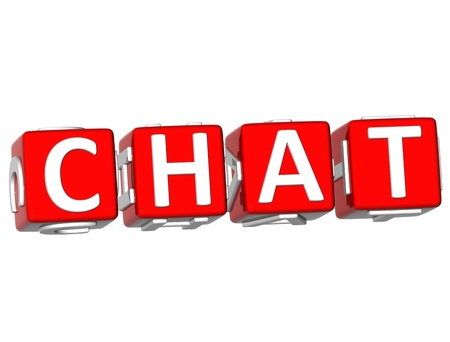 webmater: 3D Chat Cube text on white background Stock Photo