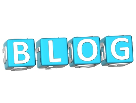 webmater: 3D Blog Cube text on white background