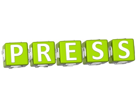 webmater: 3D Press Cube text on white background Stock Photo