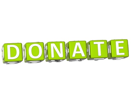 webmater: 3D Donate Cube text on white background