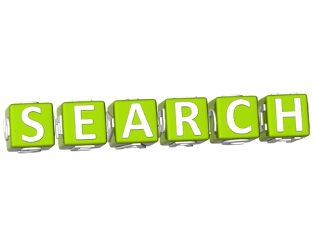 3D Search Cube text on white background photo