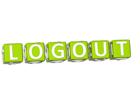 3D Logout Cube text on white background photo
