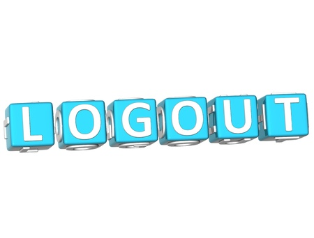 webmater: 3D Logout Cube text on white background