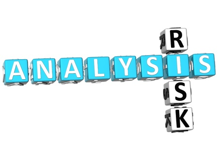3D Analysis Risk Crossword on white background photo