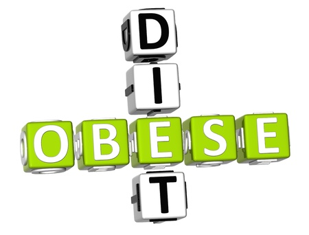 3D Obese Diet Crossword on white background Stock Photo - 9202119