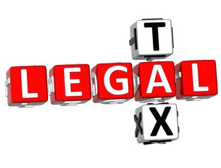 retour: 3D Legal Tax Crossword on white background