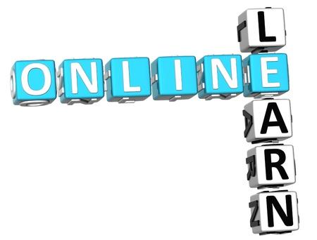 3D Learn Online Crossword on white background Stock Photo - 9239015