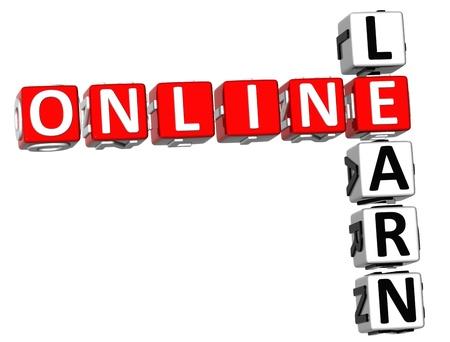 3D Learn Online Crossword on white background Stock Photo - 9239026