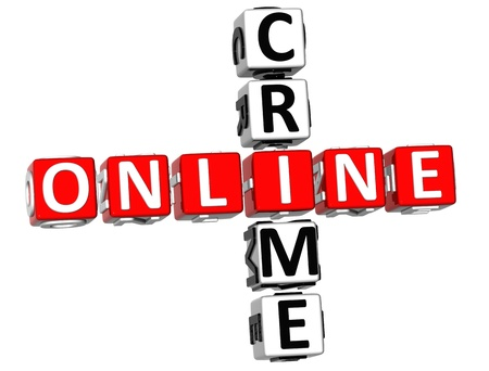 3D Online Crime Crossword on white background photo