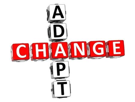 adapt: 3D Adapt Change Crossword on white background