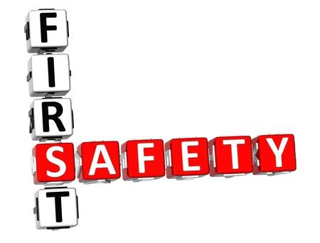 se�ales de seguridad: 3D seguridad primer crucigrama sobre fondo blanco