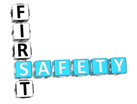 first help: 3D Safety First Crossword on white background Stock Photo
