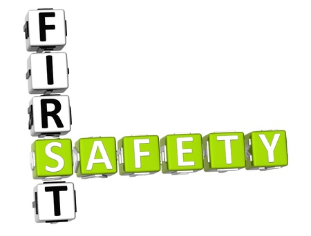 3D Safety First Crossword on white background photo