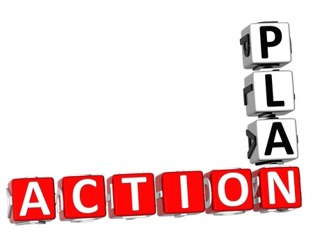action plan: 3D Action Plan Crossword on white background