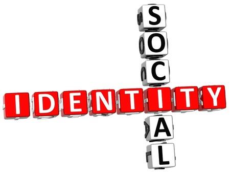 3D Social Identity Crossword on white background Stock Photo - 9238998
