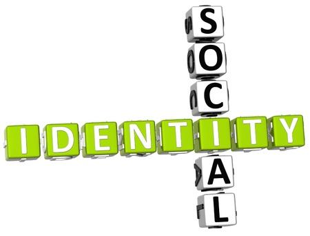 3D Social Identity Crossword on white background Stock Photo - 9238980