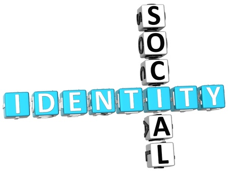 3D Social Identity Crossword on white background Stock Photo - 9238979