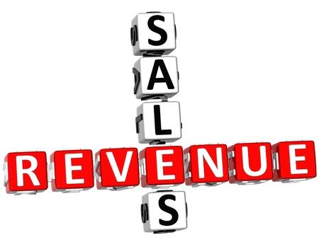3D Sales Revenue Crossword on white background photo