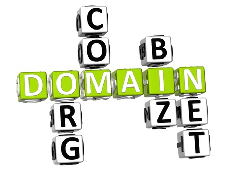domains: 3D Domain Org Com Biz Net Crossword Stock Photo