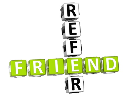 3D Refer a Friend Crossword Stock Photo - 9341014