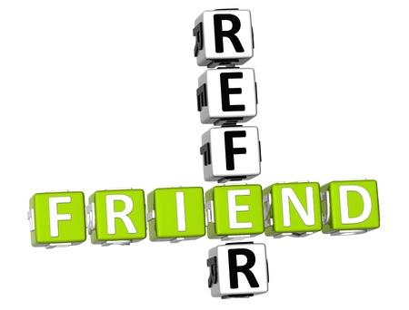 3D Refer a Friend Crossword Stock Photo - 9341014