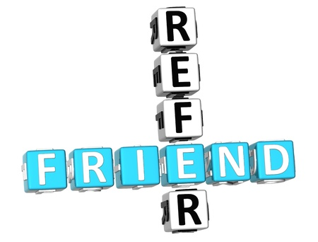 telling: 3D Refer a Friend Crossword Stock Photo
