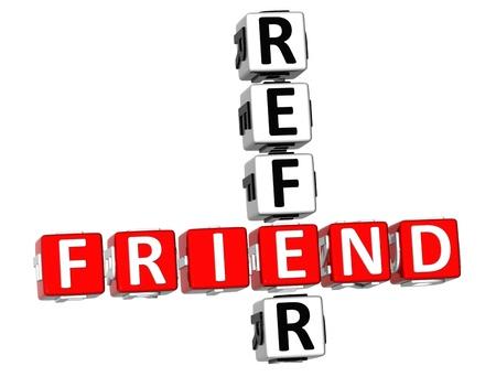 3D Refer a Friend Crossword Stock Photo