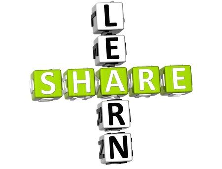3D Learn Share Crossword Stock Photo - 9341009