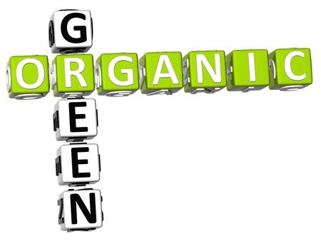 3D Organic Green Crossword on white background Stock Photo - 9341099