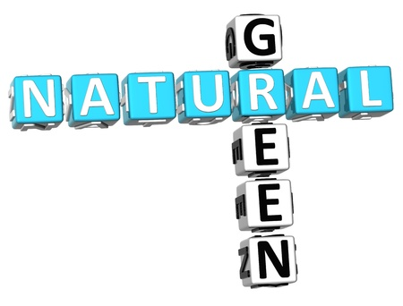 3D Natural Green Crossword on white background Stock Photo - 9341098