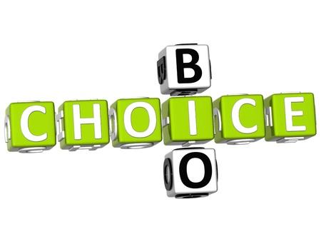 3D Bio Choice Crossword on white background photo