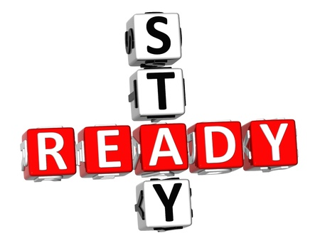 stay: 3D Stay Ready Crossword on white background Stock Photo