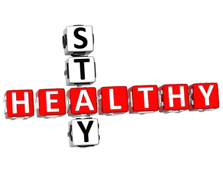 3D Stay Healthy Crossword on white background