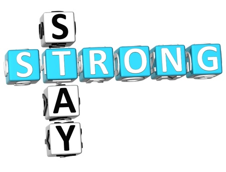 stay: 3D Stay Strong Crossword on white background