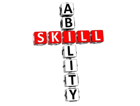 3D Skill Ability Crossword on white background photo