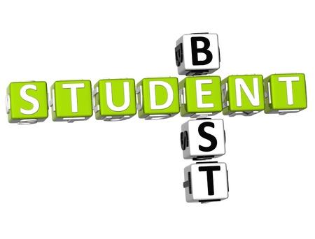 3D Best Student Crossword on white background Stock Photo - 9552139