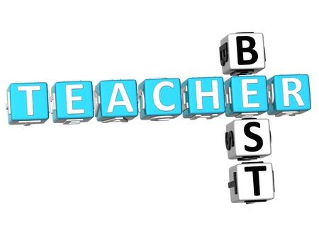 3D Best Teacher Crossword on white background Stock Photo - 9552142
